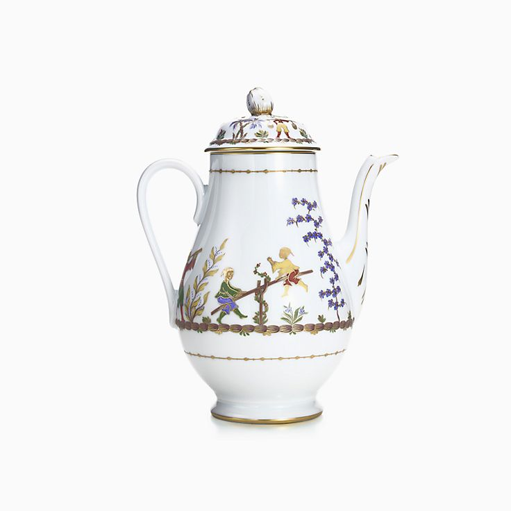 Cirque Chinois coffee pot in hand-painted Limoges porcelain.