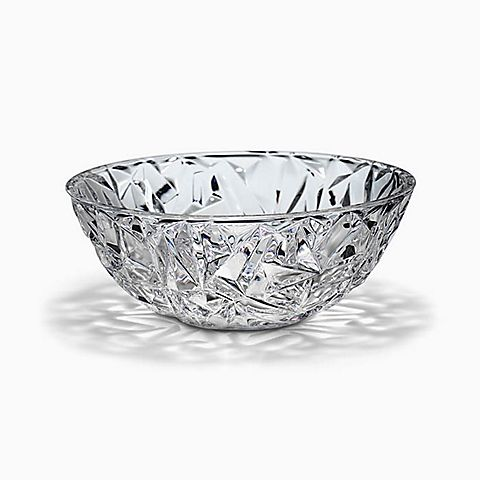 "Rock-cut bowl in crystal, 9"" diameter."