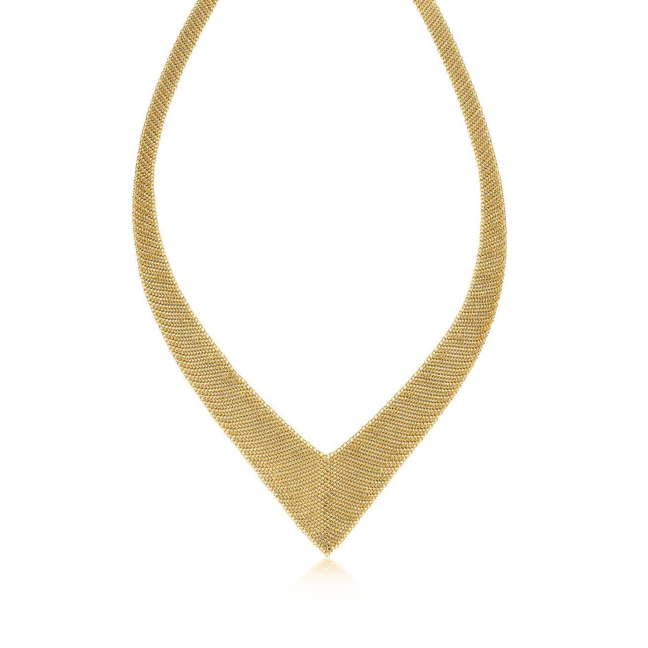 Elsa Peretti® Mesh necklace in 18k gold, small. | Tiffany & Co.
