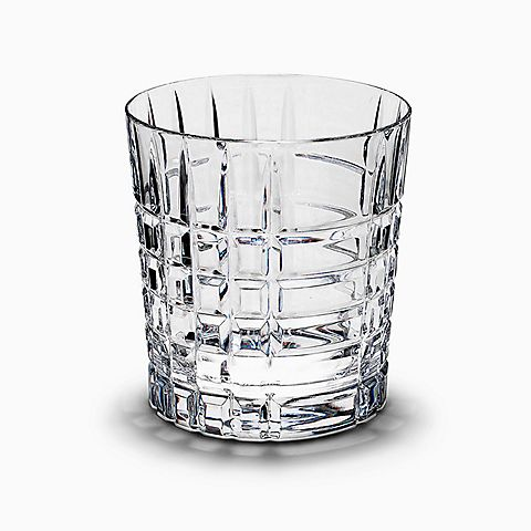 Plaid double old-fashioned glass in hand-cut crystal.