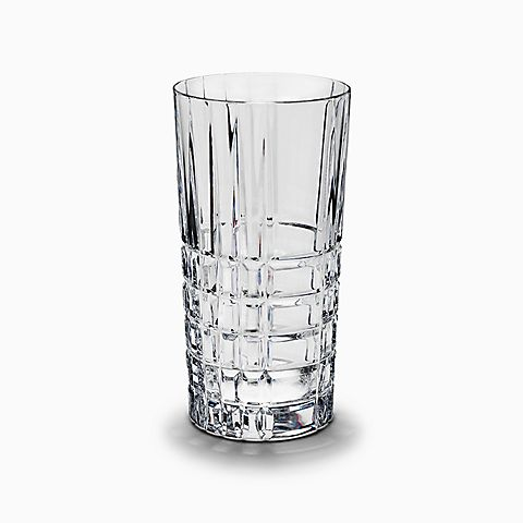Plaid highball glass in hand-cut crystal.
