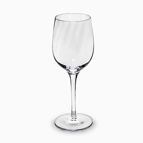 White wine glass in handblown optic crystal.