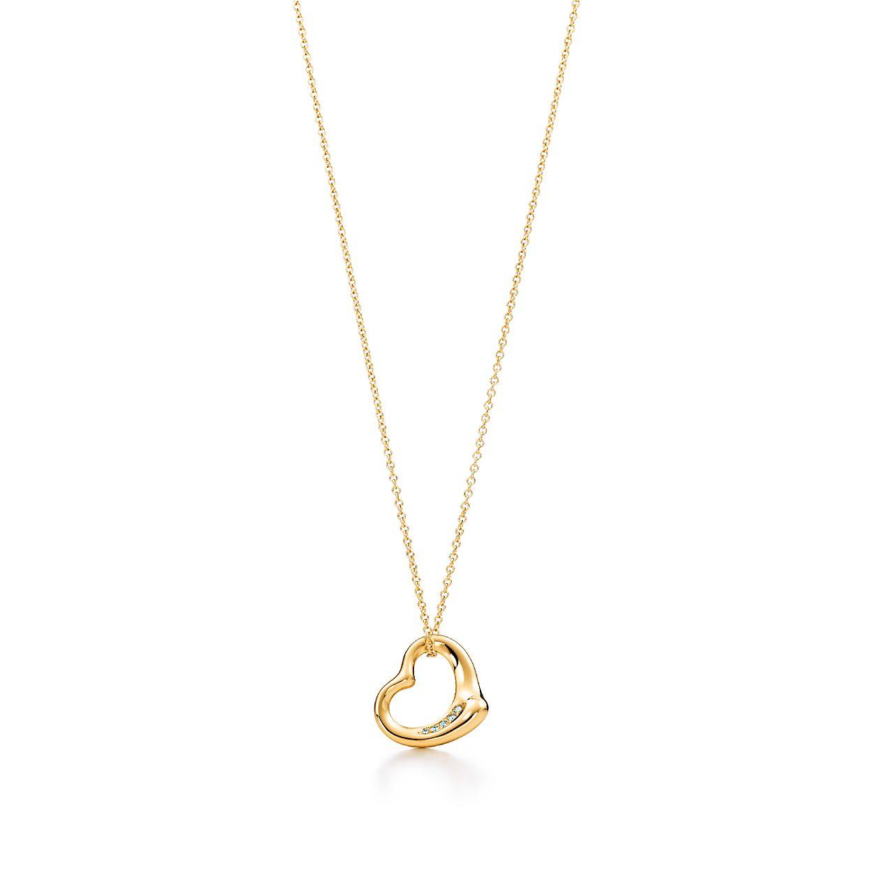 Elsa Peretti® Open Heart pendant in 18k gold with diamonds ...