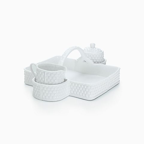 Tiffany Weave berry basket in bone china with sugar bowl and creamer.
