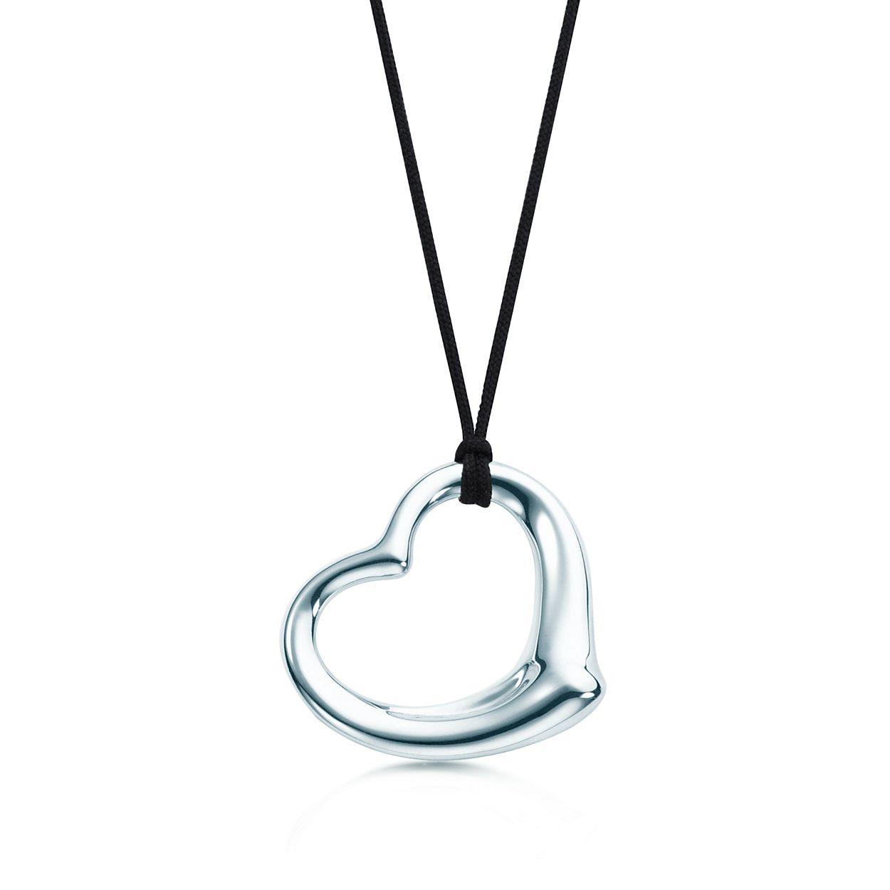 Elsa peretti open heart pendant in sterling silver on a 16 black elsa perettiopen heart pendant aloadofball Gallery