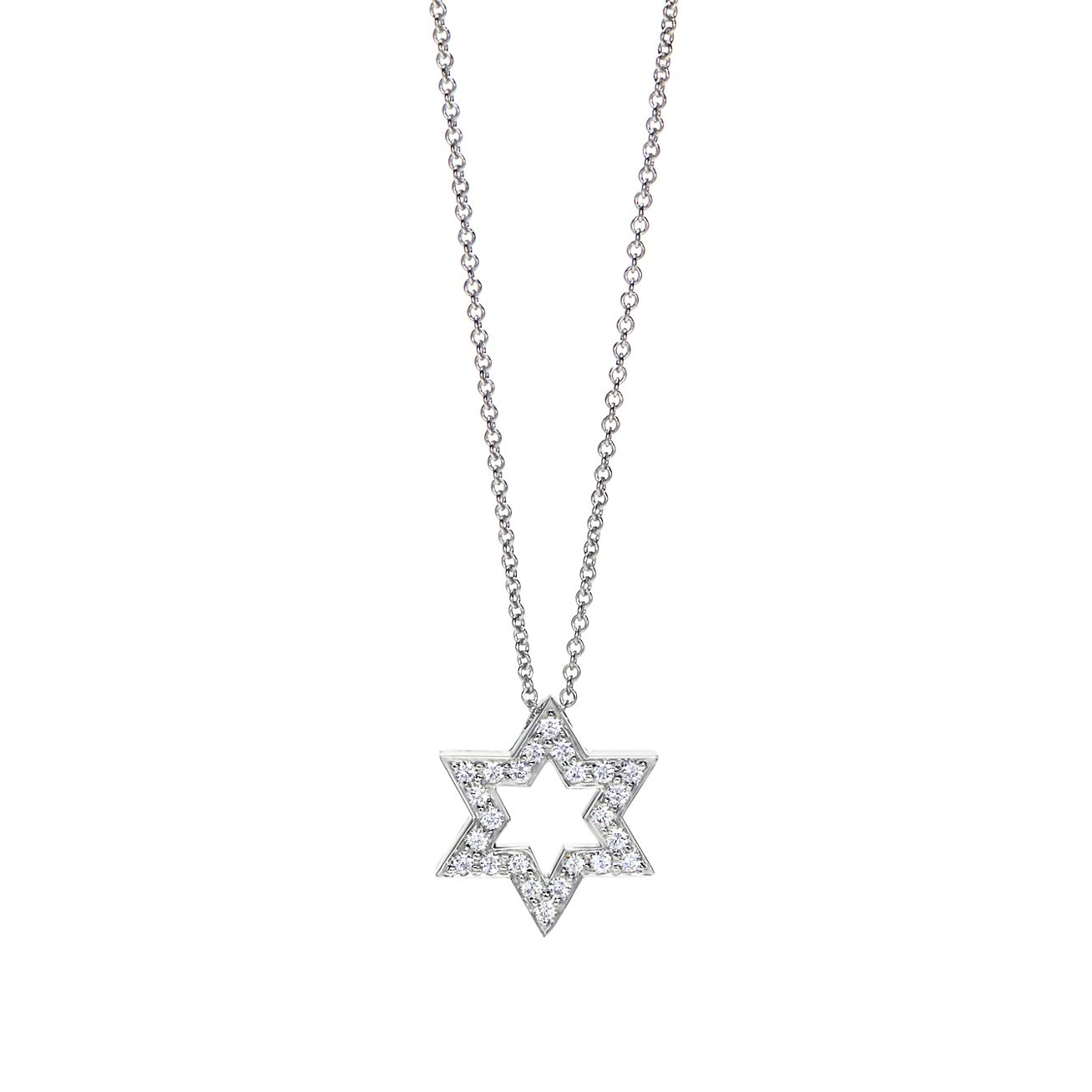 Star of david pendant of diamonds in platinum tiffany co star of david pendant aloadofball Choice Image