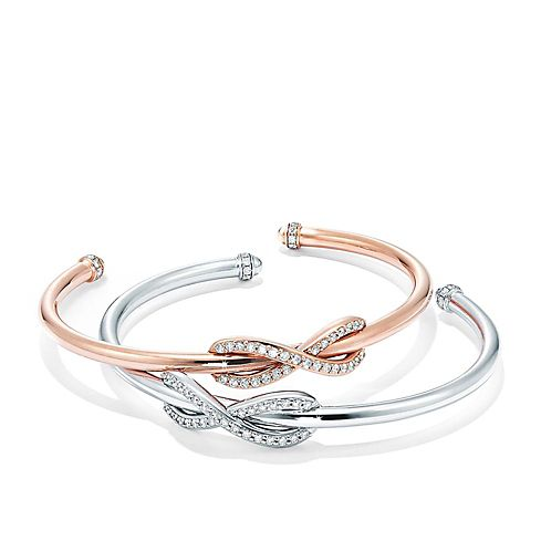 Tiffany & Co. Sterling Silver and 18k Rose Gold Diamond Infinity Bracelets