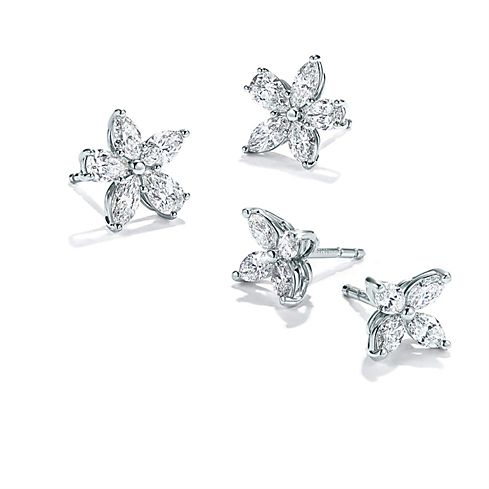 Tiffany Victoria Platinum and Diamond Earrings