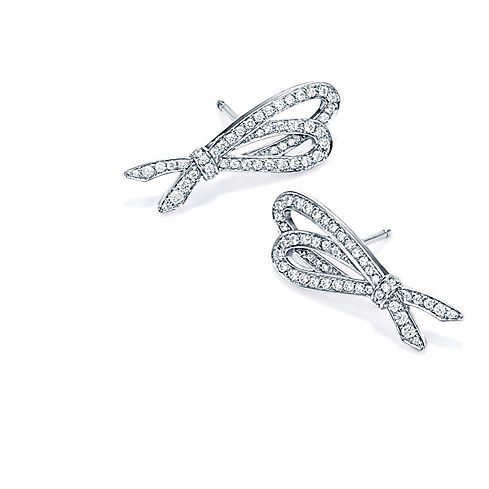 Tiffany Bows Platinum and Diamond Earrings.