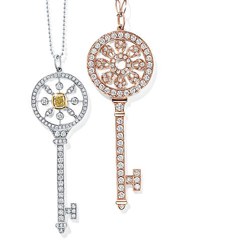 Tiffany Keys Platinum and 18k Rose Gold diamond Necklaces and Pendants