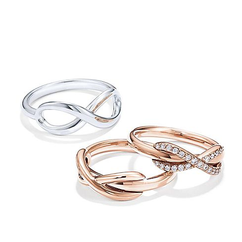 Tiffany Infinity Rose Gold And Sterling Silver Rings