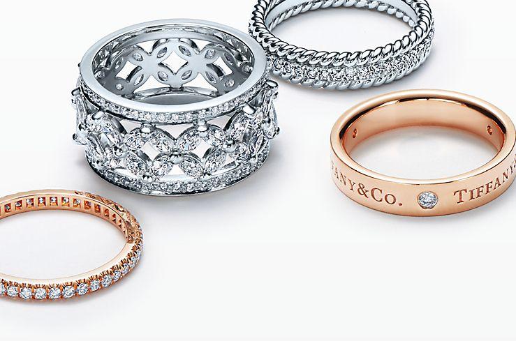 Platinum and 18K Gold diamond rings