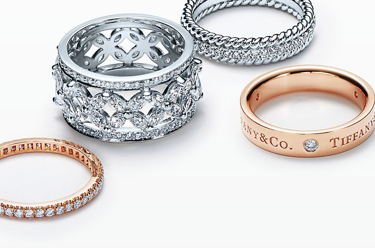 Platinum and 18K Gold diamond rings