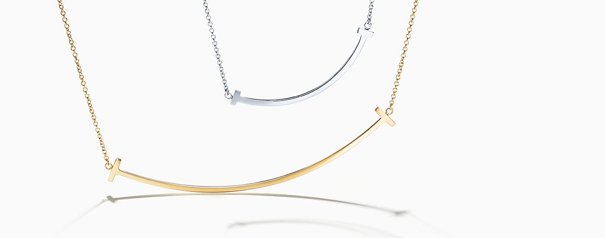 Tiffany T Necklace pendant in sterling silver and gold