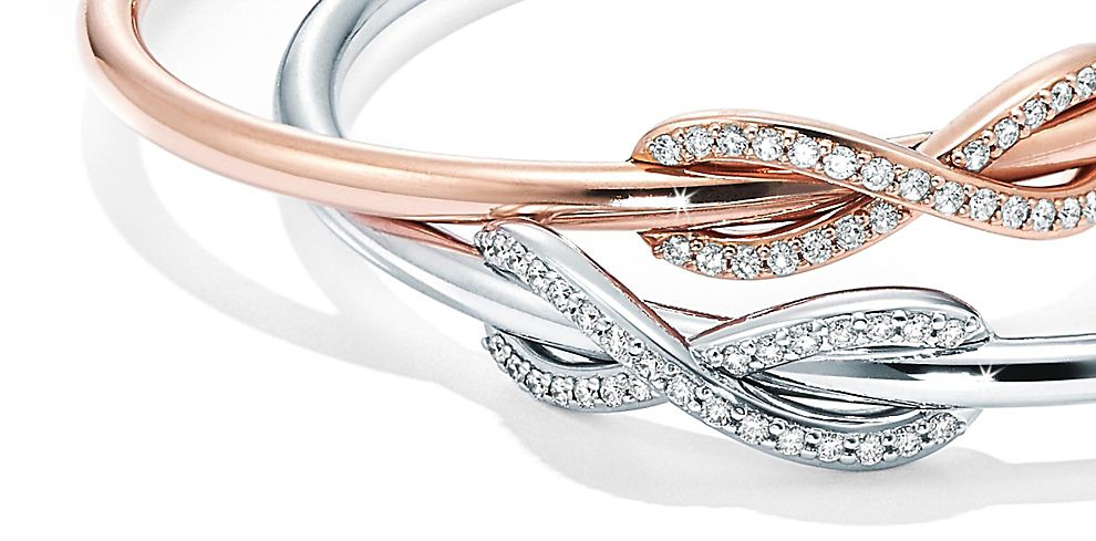 Tiffany Infinity Bracelets in Sterling Silver and 18ct Rose Gold with Diamonds