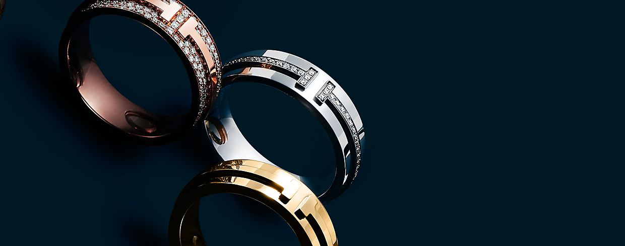 Tiffany T Rings in Sterling Silver, 18K Gold, and Rose Gold with Diamonds