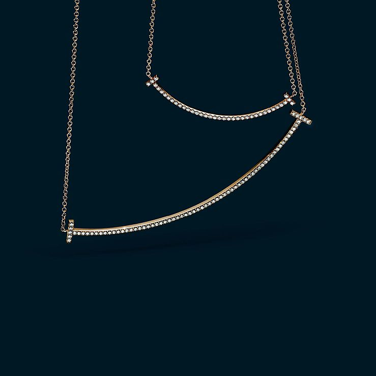Tiffany T Gold Smile Necklace Pendant