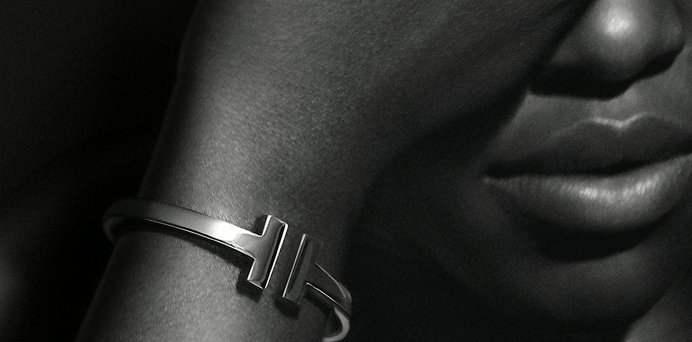 Lupita Nyong'o For Tiffany & Co. Wearing Tiffany T Square Bracelet