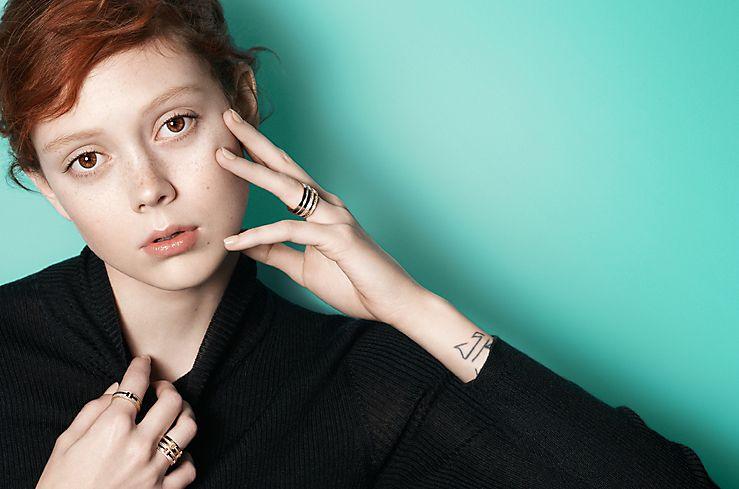 Model Natalie Westling in Tiffany T Rings