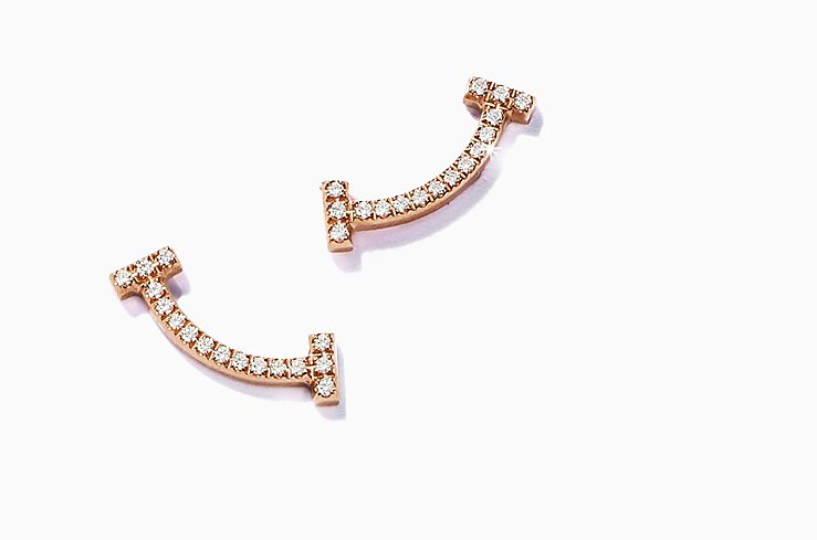 Tiffany & Co. T Smile Diamond Earrings In Gold