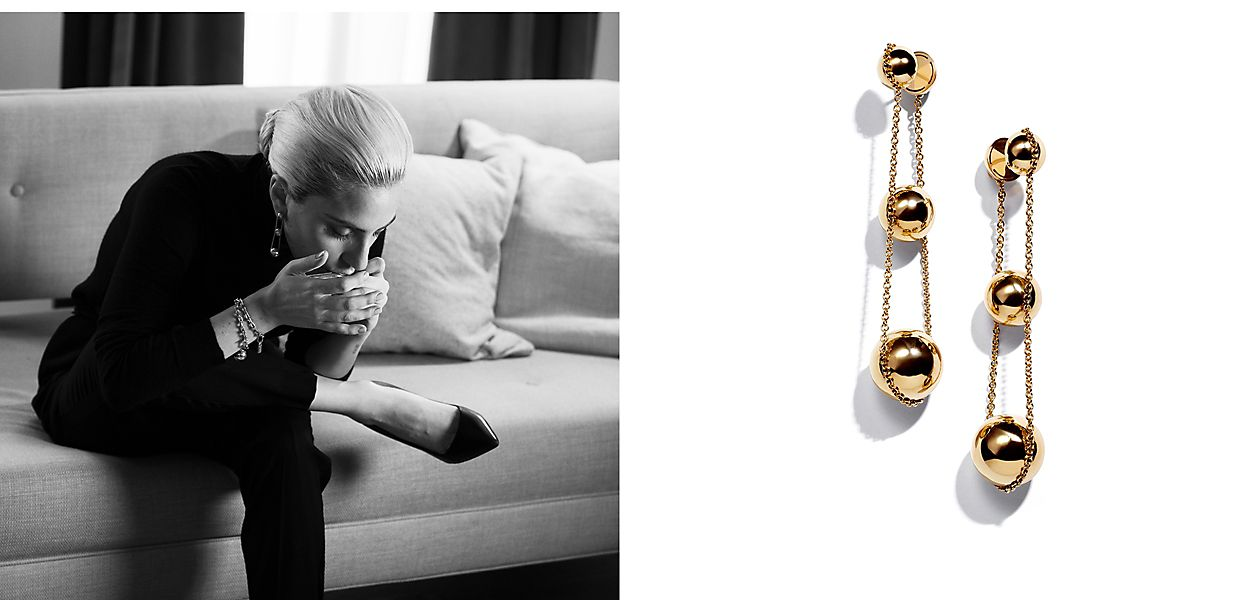 Lady Gaga Wearing the new Tiffany HardWear 18K Gold Triple Drop Earrings and