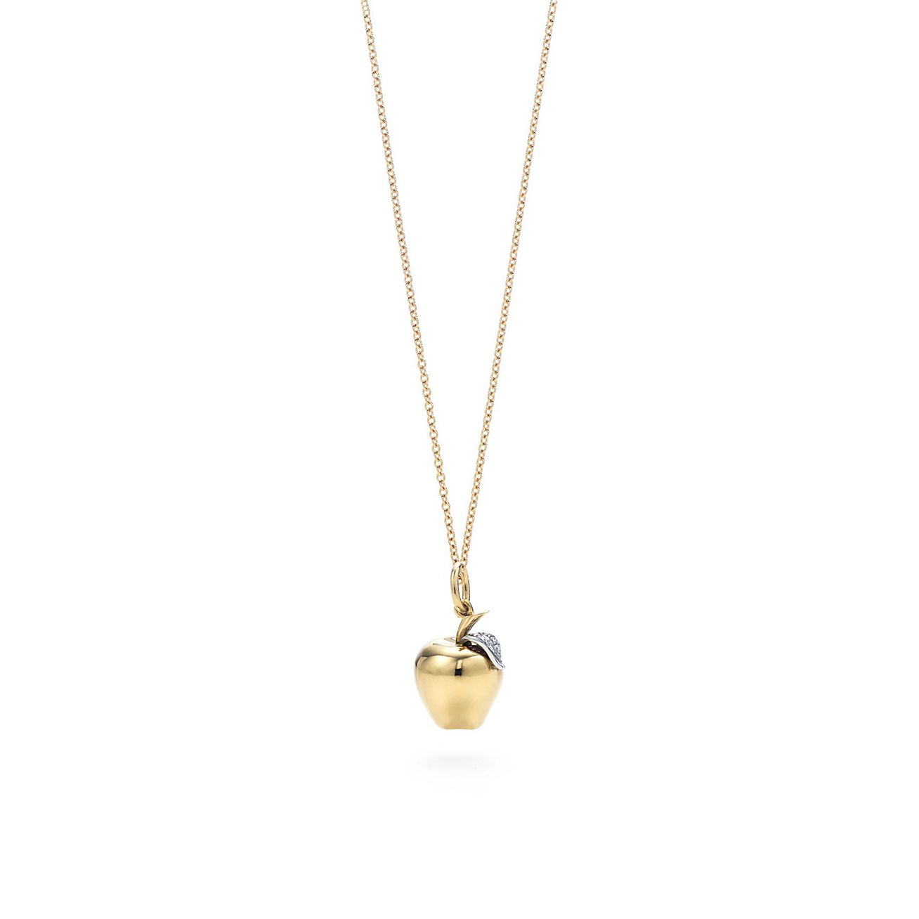 Apple charm diamonds 18k gold on an 18 chain tiffany co apple charm pendant mozeypictures Image collections