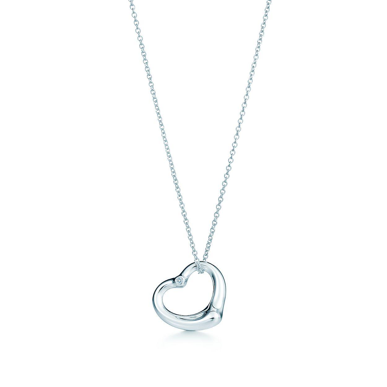 Elsa peretti open heart pendant in sterling silver with a diamond elsa perettiopen heart pendant aloadofball Choice Image