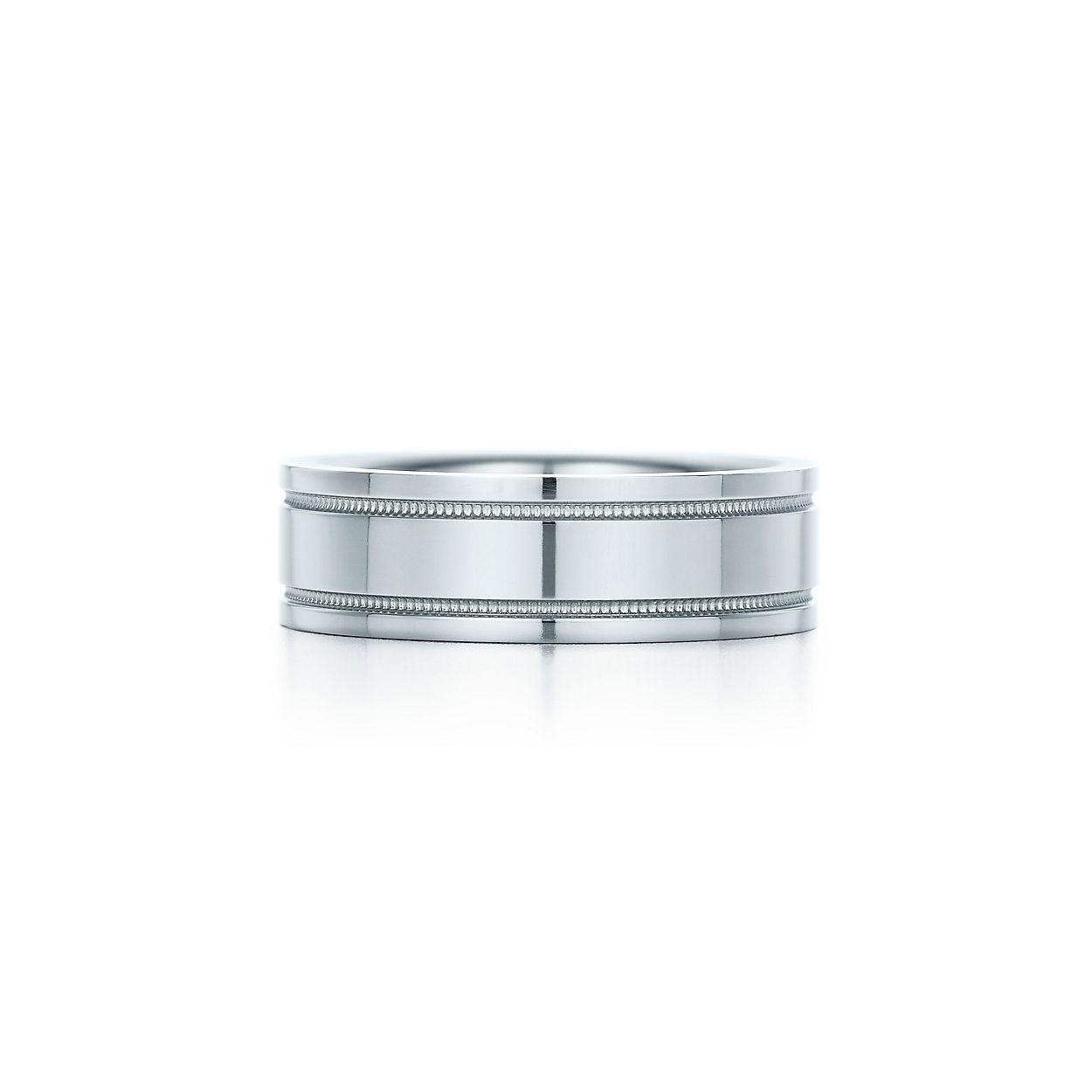 Tiffany flat double milgrain wedding band ring in platinum 6 mm tiffany flat doublebrmilgrain weddingbrband ring junglespirit Images