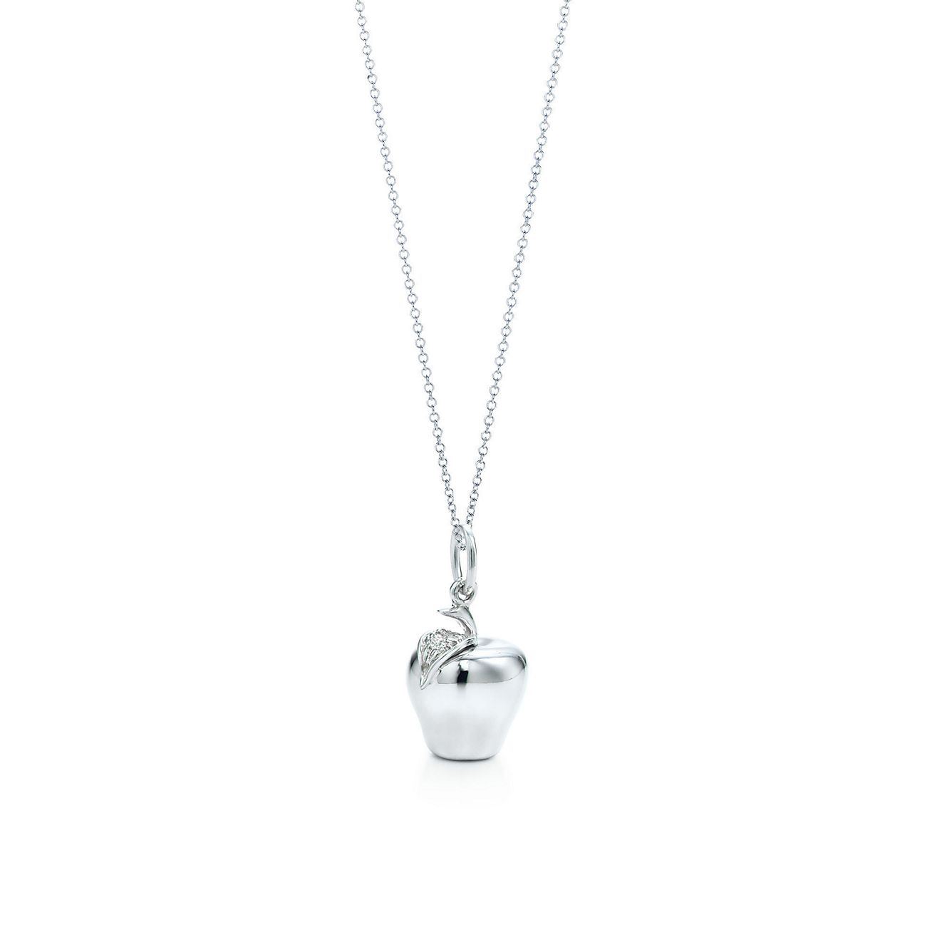 Apple charm in sterling silver on a chain tiffany co apple charm and chain audiocablefo light Images
