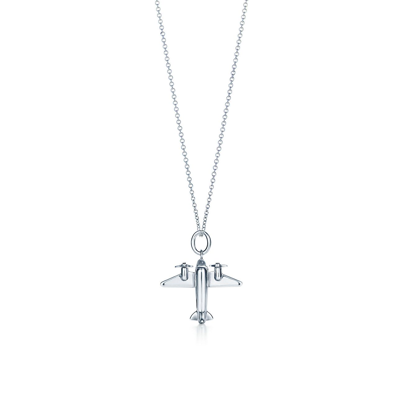 Airplane charm in sterling silver on a chain tiffany co airplane charm pendant aloadofball Choice Image