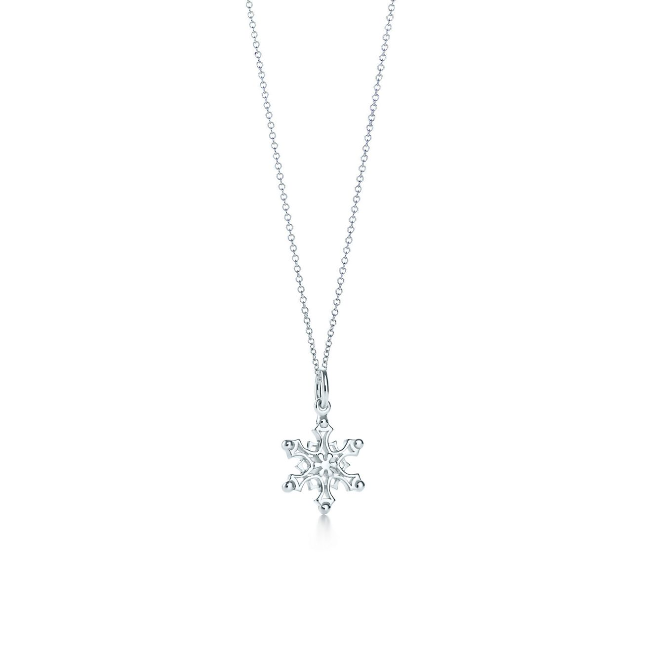 snowflake charm in sterling silver on a chain tiffany u0026 co