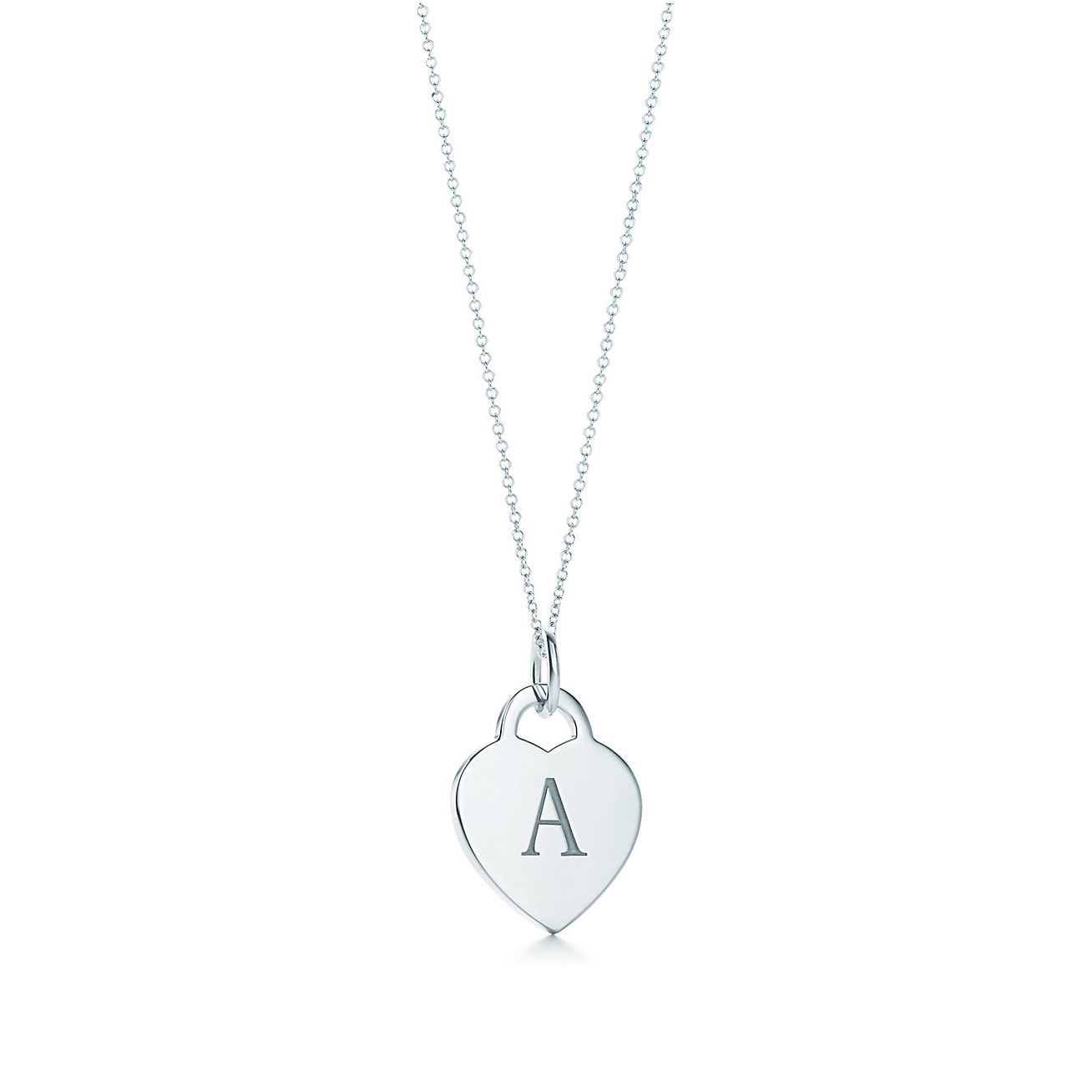 Alphabet heart tag letter charm in silver on a chain letters a z alphabet heart tag letter charm and chain mozeypictures Images