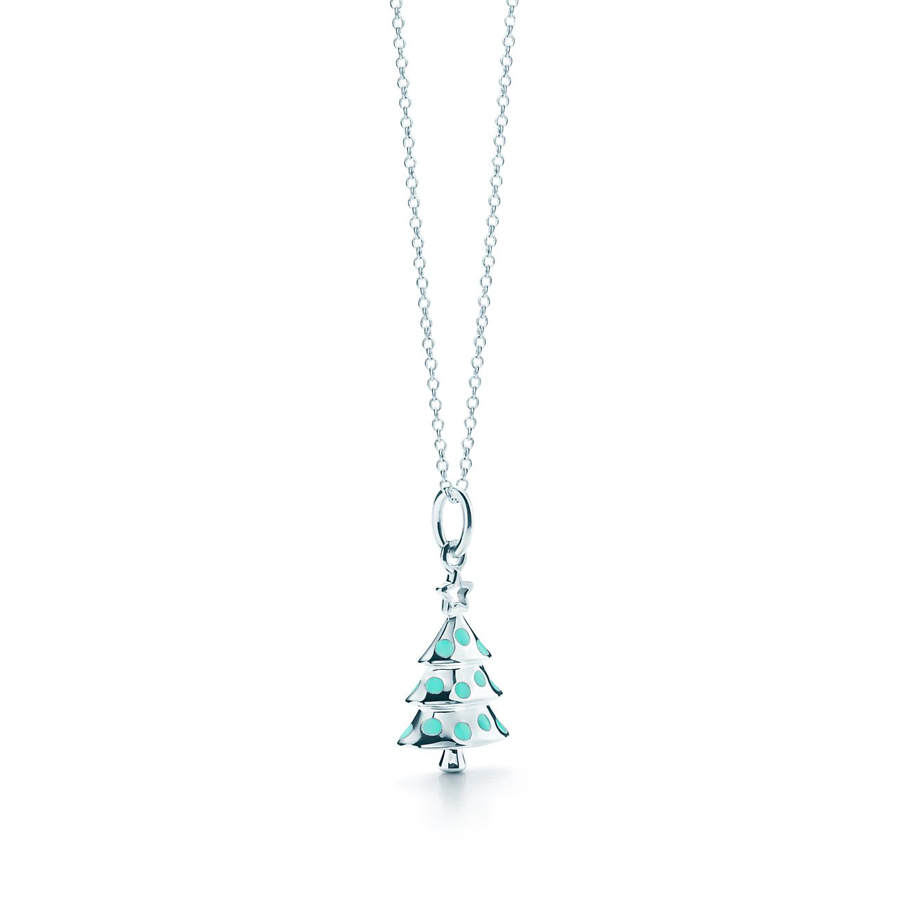 Christmas tree charm in sterling silver with blue enamel finish on a christmas tree charm and chain aloadofball Images