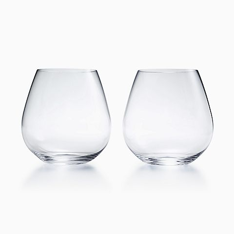 "Riedel ""O"" Pinot Noir tumblers in glass, set of two."