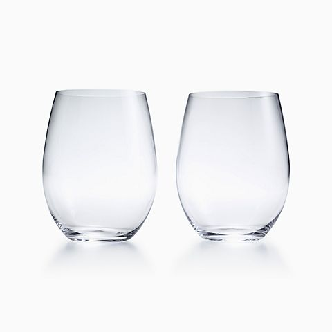 "Riedel ""O"" cabernet tumblers in glass, set of two."
