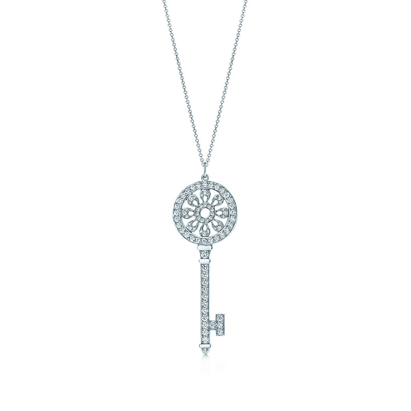 Tiffany keys petals key pendant with diamonds in platinum on a tiffany keyspetals key pendant aloadofball Gallery