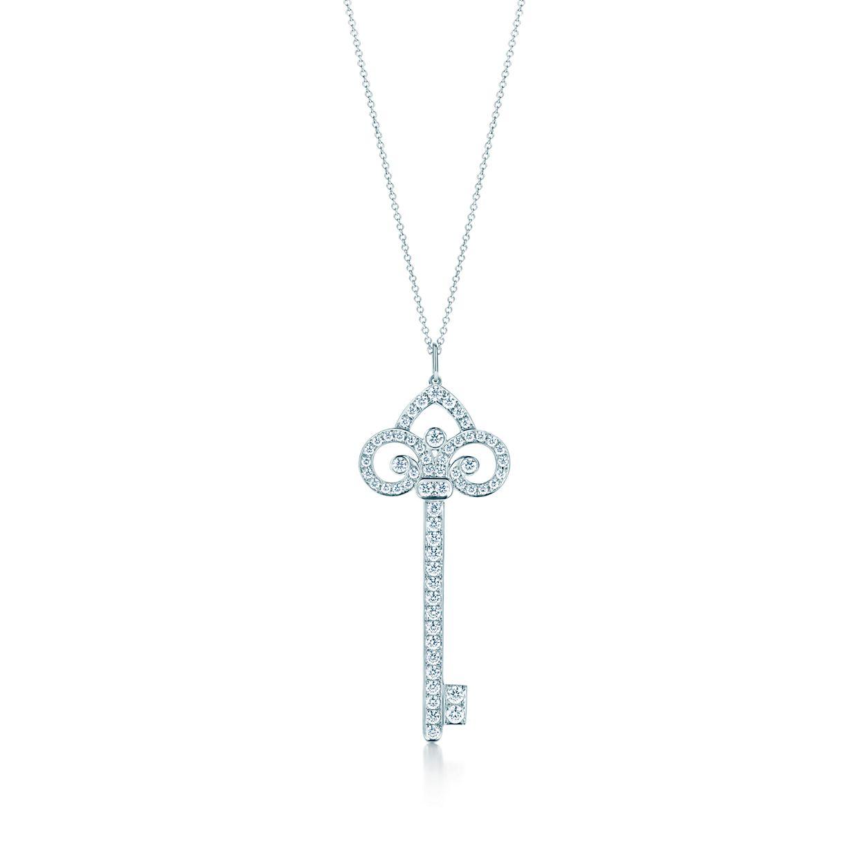 Tiffany keys fleur de lis key pendant in platinum with diamonds tiffany keysfleur de lis key pendant mozeypictures Image collections