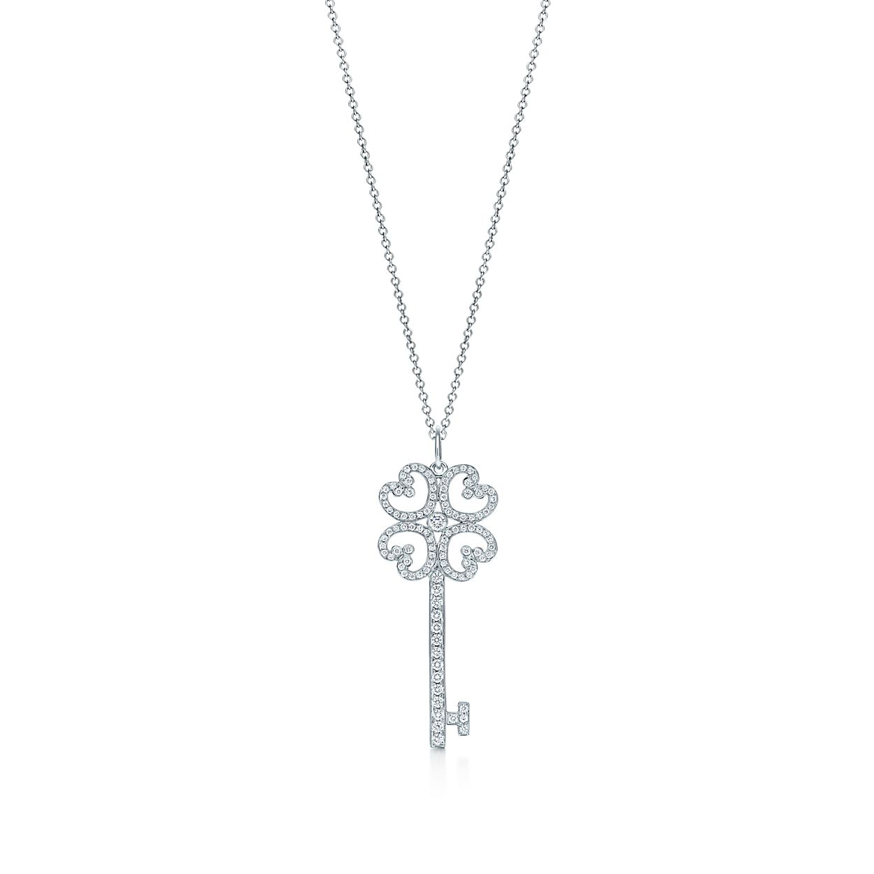 Tiffany keys quatra heart key pendant with diamonds in platinum on tiffany keysquatra heart key pendant and chain aloadofball Gallery