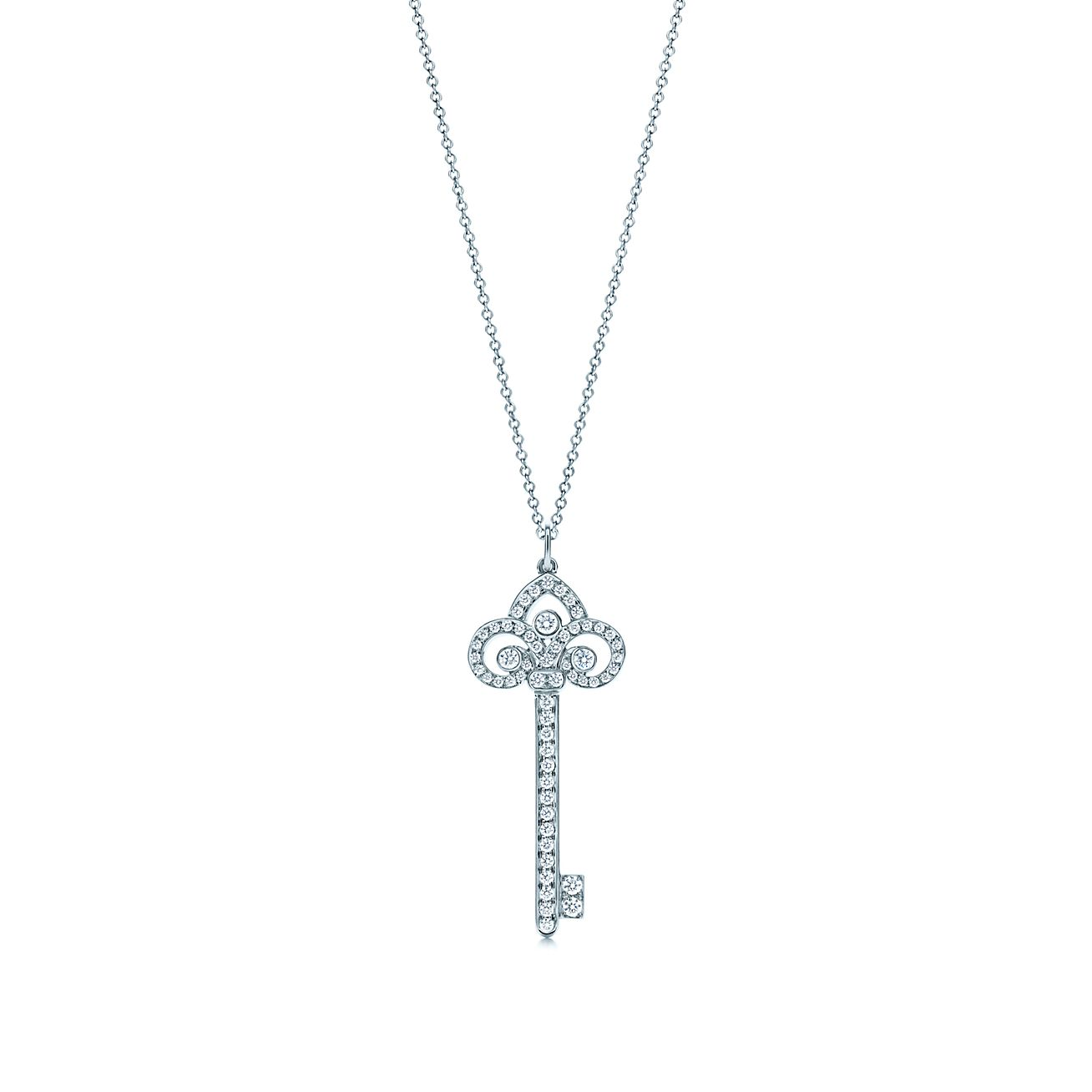 Tiffany keys fleur de lis key pendant with diamonds in platinum on tiffany keysfleur de lis key pendant aloadofball Gallery