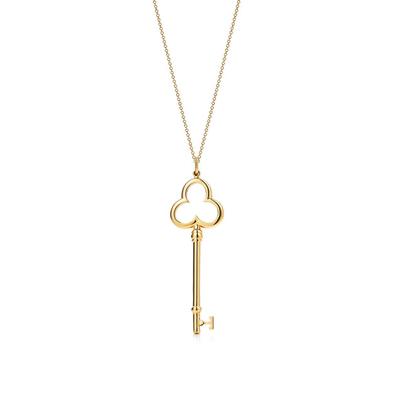 Tiffany Keys trefoil key pendant in 18k gold on a chain. | Tiffany ...
