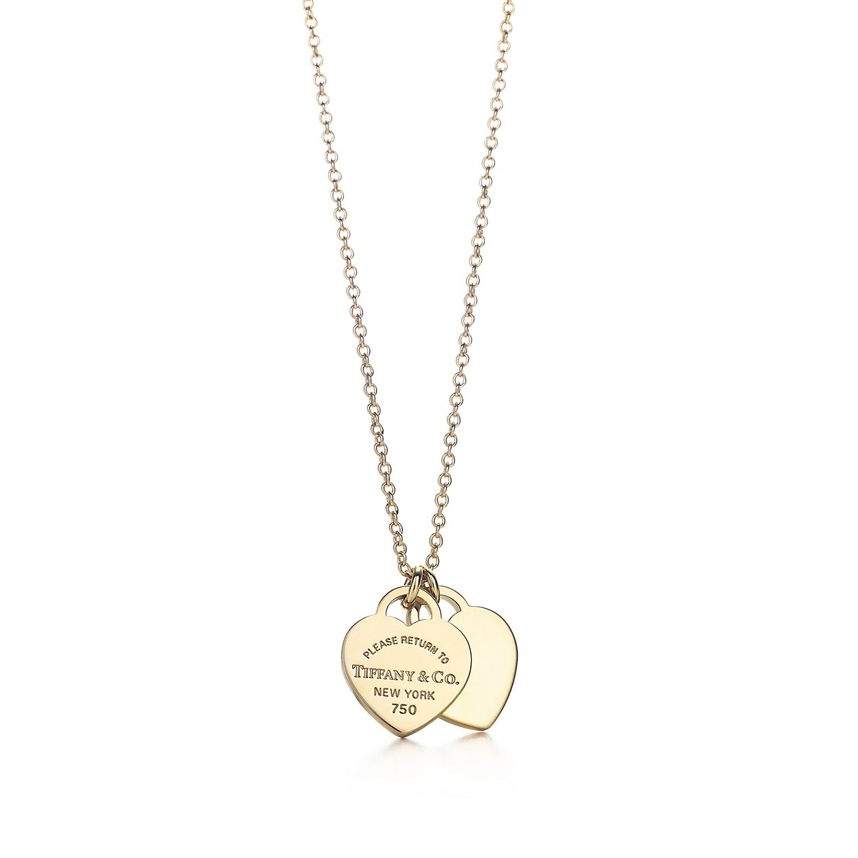 Return to Tiffany® mini double heart tag pendant in 18k gold ...
