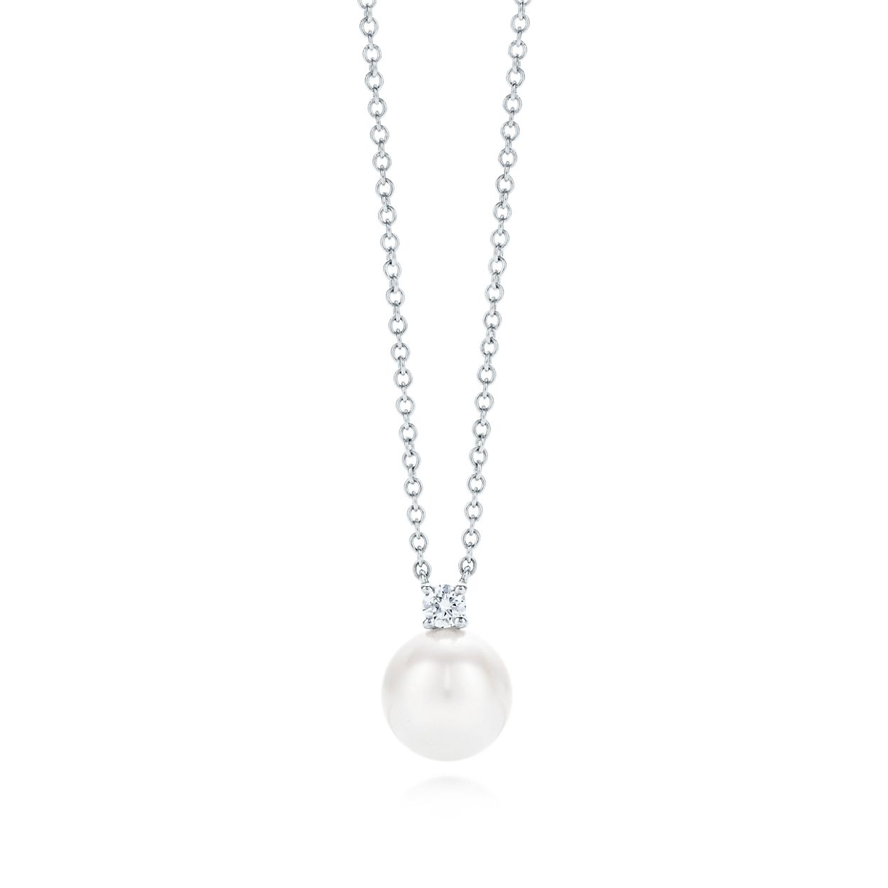 Tiffany signature pendant in 18k white gold with an akoya pearl tiffany signaturepearl pendant mozeypictures Choice Image