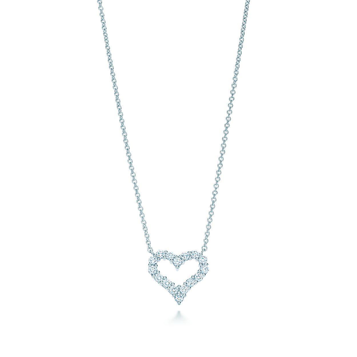 Pendant in platinum with diamonds mini tiffany co diamond heart pendant diamond heart pendant mozeypictures Images