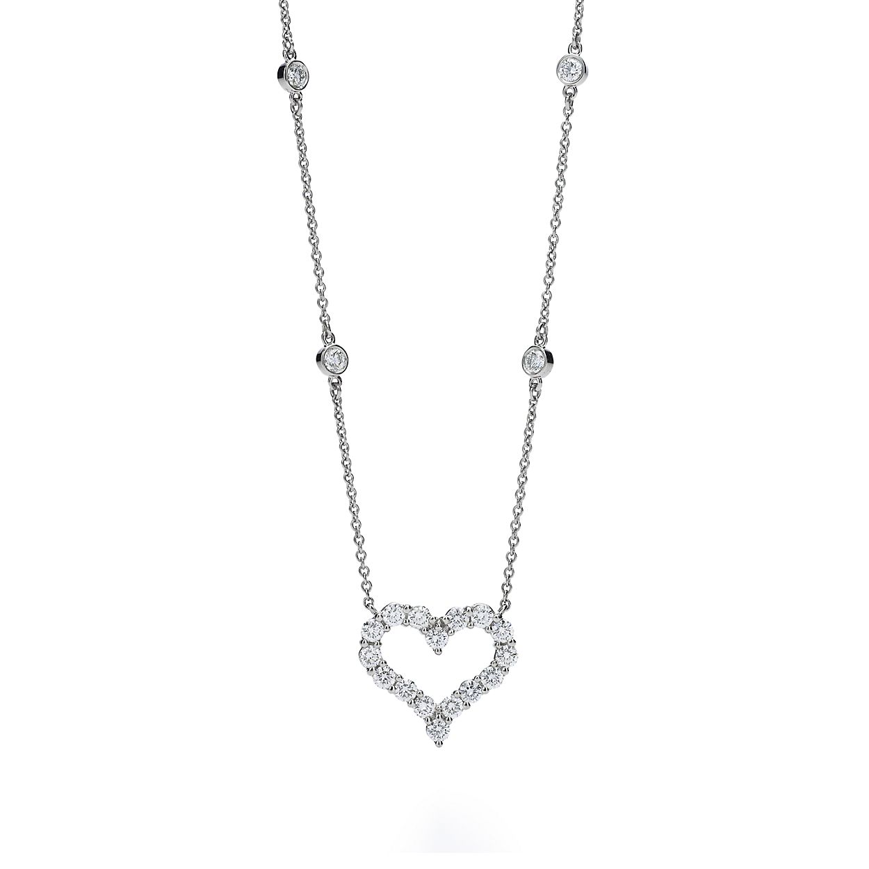 Necklace in platinum with diamonds tiffany co diamond heart necklace diamond heart necklace aloadofball Gallery