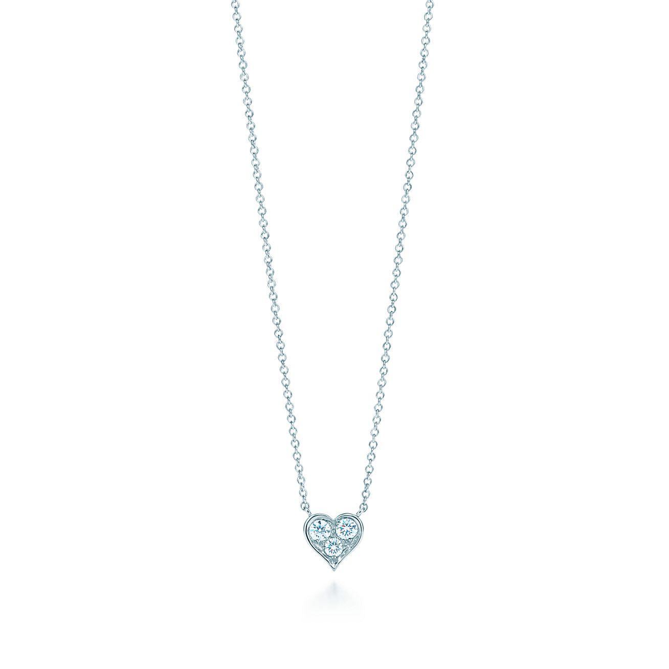 Pendant in platinum with diamonds tiffany co diamond heart pendant aloadofball Image collections