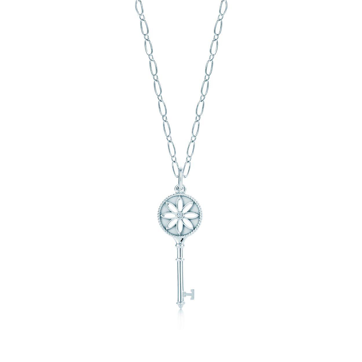 Tiffany keys daisy key pendant in silver with a diamond on an oval tiffany keysdaisy key pendant aloadofball Images