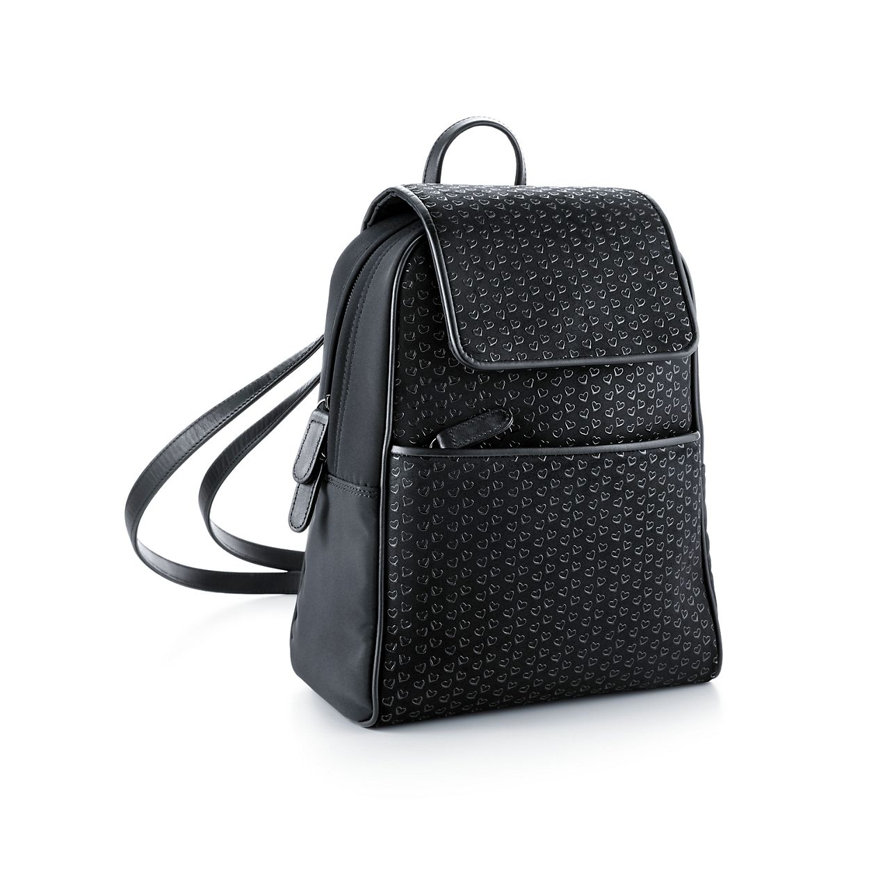 Elsa Peretti® backpack in black leather with lacquered Open Hearts ...