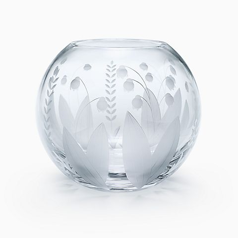 Lily of the Valley rose bowl in crystal.