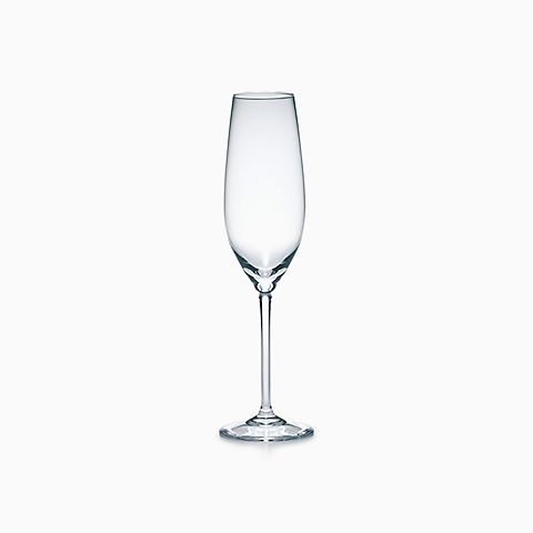 Champagne flute in handblown glass.