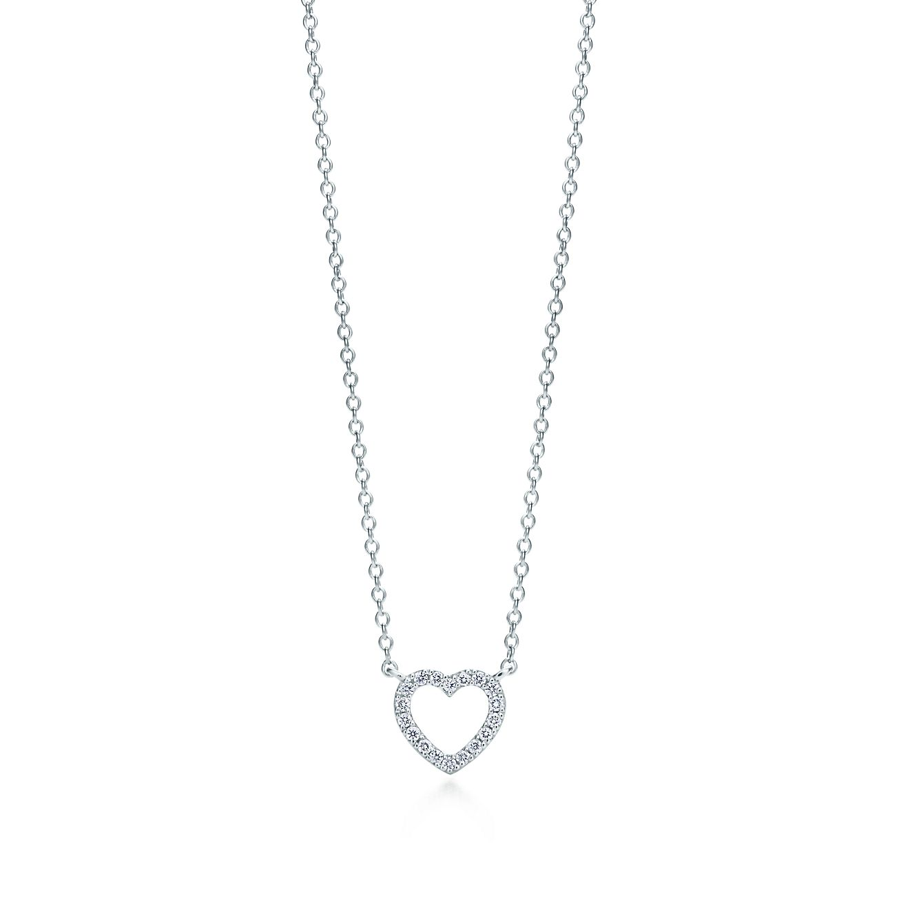 Heart pendant in 18k white gold with diamonds mini tiffany co heart pendant heart pendant aloadofball Image collections